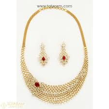 18k gold diamond necklace drop earrings set with color stones 235 ds766