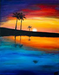 simple beach sunset painting defendbigbird com