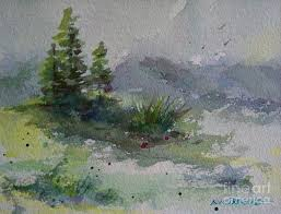 watercolor painting three pine trees by bambi rogers