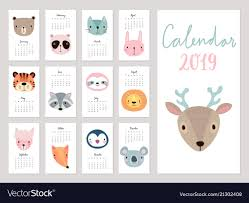 mothly calendar calendar 2019 cute monthly calendar with animals vector image