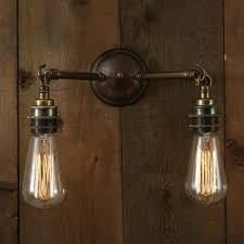 bare bulb lighting. ARRIGO Double Bare Bulb Wall Light On Antique Brass Fitting Lighting
