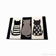 cute 3 cats door mats bathroom mats non slip absorbent kitchen rug machine washable rug black and white room rug safety bath mat living room rug