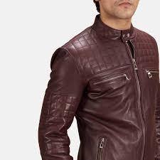 Mens Urbane Quilted Maroon Leather Biker Jacket & Mens Urbane Quilted Maroon Leather Biker Jacket 4 Adamdwight.com