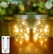 Mason Jar Twinkle Lights Solar Mason Jar Lights 2 Pack 20 Leds Remote Control 8 Modes Lighting Led String Fairy Firefly Lights Mason Jar Jars Included Best For Outdoor