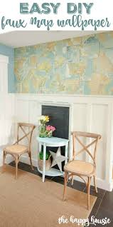 entry hall with diy faux map wallpaper