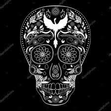 диа де Muertos тату череп день мертвых обратное полный векторное