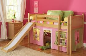 Good Maxtrix Loft For Girls With Play Tent In Pink, Green And Yellow
