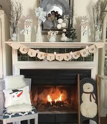 winter snowman mantel