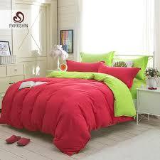 parkshin red and green solid color bedding set comfortable plain double duvet cover set soft polyester flat sheet bedclothes king duvet sets duvets for