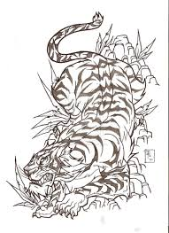 Tiger Sketch Beautiful Japanese Tattoo Design