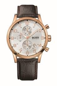 hugo boss men s chronograph rose gold plated and leather strap watch
