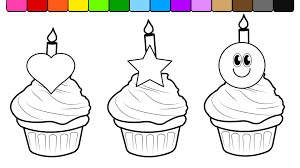 Small Picture Learn Colors for Kids and Color this Birthday Cup Cake Coloring
