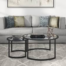 Glass nesting coffee tables Large Round Glass Mitera Round Metalglass Nesting Coffee Tables Set Of optional Finishes Overstock Shop Mitera Round Metalglass Nesting Coffee Tables Set Of