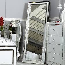 madison white glass full length floor mirror