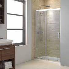 small bathroom design with laminate vanity using clear glass sliding shower doors