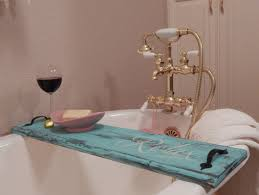 turquoise bathtub tray
