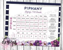 Piphany Sizing Fit Guide Piphany Size Chart Poster Piphany