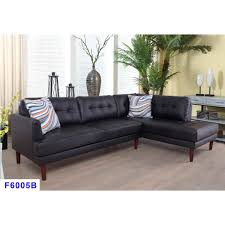 2 piece black faux leather right sectional sofa set