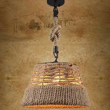 rustic nautical rope woven drum shaded pendant light with single light