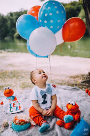 Baby Boy Elmo Cookie Monster 1st Birthday Cake Smash Stock Photo