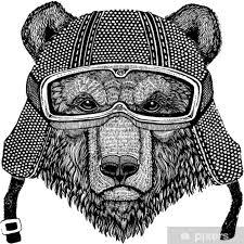 Fototapeta Vinylová Hnědý Medvěd Ruština Medvěd Zvíře Na Sobě Motorkářská Přilba Obrázek Pro Děti Dětské Oblečení Děti Tričko Tetování Znak