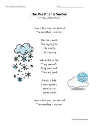 Comprehension Worksheet - Weather is Snowy