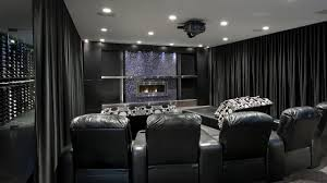 home theater curtains help you enjoy your relaxing time theater room with black leather seats