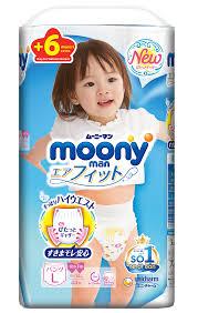 Bỉm quần Moony Nhật size L44+6 miếng bé gái