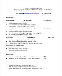 Chronological Order Resume Template Chronological Order Resume