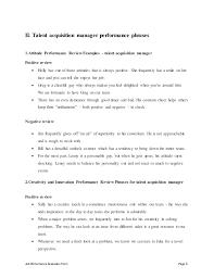 job performance evaluation form page 8 ii talent acquisition manager talent acquisition manager job description