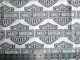 Biker White HARLEY DAVIDSON Gray Bar and Shield logo Quilt Fabric ... & Image is loading Biker-White-HARLEY-DAVIDSON-Gray-Bar-and-Shield- Adamdwight.com