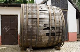 stock photo very old large wine barrel oval shaped