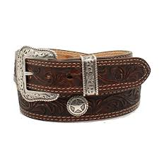 nocona mens brown leather tooled with star concho belt