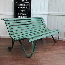 reserved green vintage garden bench