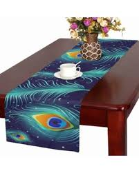 MKHERT Peacock Feather Table Runner For Wedding Party Decoration Kitchen  Decor Decoration 16x72 Inch