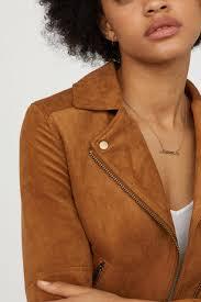 h m womens faux suede biker jacket