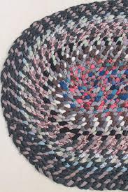 old handmade twined braided rug traditional vintage hand crafted wool rag rug