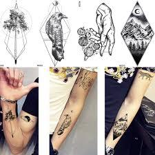 Us 039 15 Offnew Men Waterproof Crow Tattoo Arm Geometric Trunk Temporary Tattoo Women Peak Ankle Stickers Puppet Line Stars Fake Tatoos Moon In
