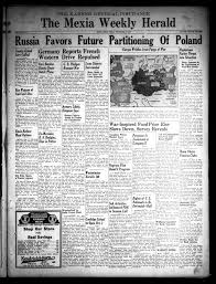 The Mexia Weekly Herald (Mexia, Tex.), Vol. 41, No. 36, Ed. 1 Friday,  September 15, 1939 - Page 1 of 4 - The Portal to Texas History