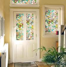 3d colorful flowers stained glass static cling window for etched glass window clings