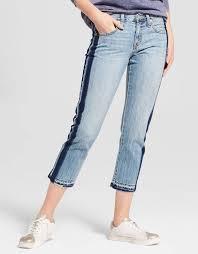 Mossimo Womens Jeans Boyfriend Crop Tuxedo Stripe Size 0