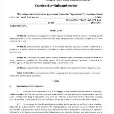 Subcontractor Contract Template Inspiration Subcontractor Agreement Template Construction Form Templates Resume