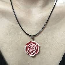 1pcs retro peony flower resin 25mm personality pendant cowhide necklace red