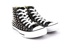 converse black high tops. studded all star high top chuck taylor converse black shoes shoe sneakers spiked tops