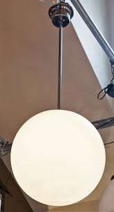 simple white frosted glass ball pendant. European, Mid-Century Modern Frosted Blown Glass Ball Pendant Simple White S