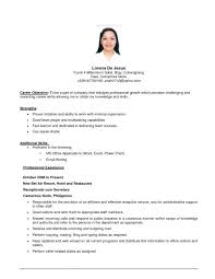 Resume Career Objective Example Resume For Regarding Sample Job Delectable Carrier Objectives For Resume