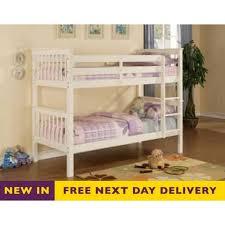 devon 3ft single white wooden bunk bed