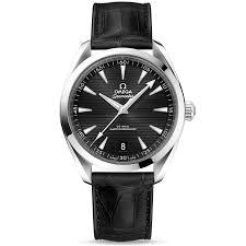 omega omega seamaster aqua terra 41mm black dial men s leather strap watch