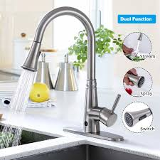 Costway Motion Sense Touchless Kitchen Faucet Pull Down Single Handle Brushed Nickel