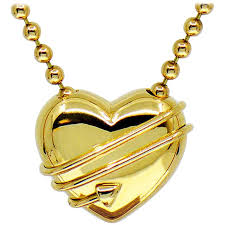 tiffany co cupid heart arrow 18k yellow gold pendant bead chain necklace